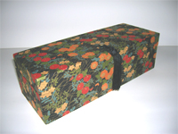 Oblong Box with Red & Gold Chrysanthemums paper