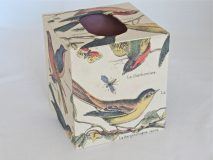 Tissue Box Cover with French Birds Paper