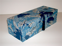 Oblong Box with Katazome Blue Mountains & Waves paper