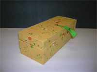 Oblong Box with Embroidered Flowers paper