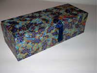 Oblong Box with Katazome Blue Leaves paper