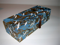 Oblong Box with White Cranes Flying on Blue Rivers paper