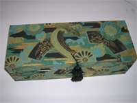 Oblong Box with Teal Waves & Golden Wheel Japanese paper