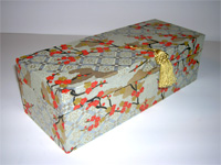 Oblong Box with Orange Plum Blossom Japanese paper