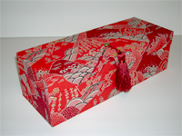 Oblong Box with Katazome Red Mountains & Waves paper