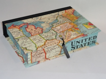 Rectangular Box with Map of the United States Paper