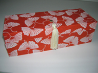 Oblong Box with Nepalese Orange Gingko Leaf paper