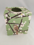 Tissue Box Cover with Plum Blossoms and Bird