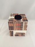 Tissue Box Cover with Old Books Paper