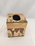 Tissue Box Cover with Farm Animals Paper