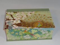 Two Compartment Box with Peacock, Birds and Flowers Paper
