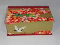 Two Compartment Box with Birds and Flowers Japanese Paper