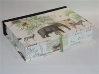 Rectangular Box with African Animals Paper