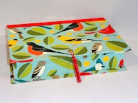 Rectangular Box with Birds & Leaves paper
