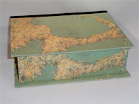 Large Rectangular Box with Vintage Cape Cod Map Paper