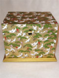 Chest with Tray in White Cranes Flying over Gold Fields and Green Trees Paper