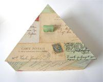 Triangular Box with Paris Postcards paper
