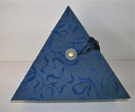 Triangular Box with Dark Blue Vines Flocked Paper