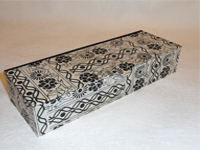 Flat Oblong Box with Black Flowers and Vines paper