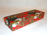 Flat Oblong Box with Black & White Mountains & Flowers paper