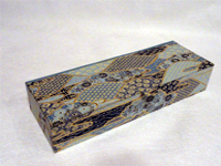 Flat Oblong Box with Blue Flowers and Golden Mountains paper