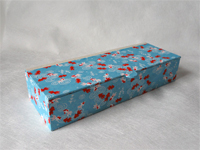 Flat Oblong Box with Blue Koi paper