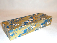 Flat Oblong Box with White Cranes Flying over Golden Fields and Blue Rivers paper