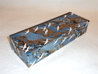 Flat Oblong Box with White Cranes Flying Over Blue Rivers paper