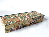 Flat Oblong Box with Plum Blossoms & Golden Clouds paper