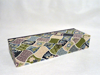 Flat Oblong Box with Purple and Green Garden Rows paper