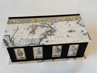 Deep Oblong Box with John Speed's 1616 Map of the Americas