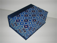Square Box with Katazome Blue Fruit Paper