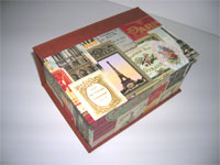 Square Box with Paris Monuments Ads Paper