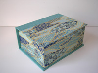 Square Box with Blue Flowers and Golden Mountains Paper