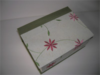 Square Box with Embroidered Flowers Paper and Celadon Silk Lining