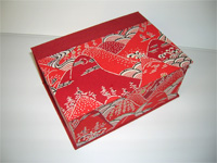 Square Box with Red Mountains & Waves Paper