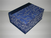 Square Box with Silver Vines Paper