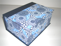 Square Box with Yuzen Blue Flowers paper
