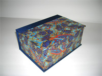 Square Box with Chiyogami Blue Leaves paper