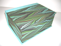 Square Box with Crepaldi Marbled Paper and Aqua Silk Lining