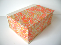 Square Box with Orange & Yellow Chrysanthemum paper