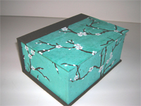 Square Box with Aqua Peach Blossom paper