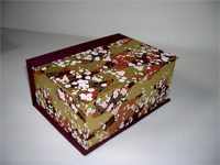 Square Box with Plum Blossoms on Golden Clouds paper