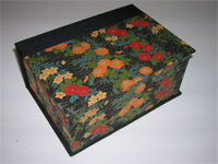 Square Box with Red and Orange Chrysanthemum paper