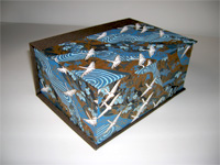 Square Box with White Cranes Flying Over Blue Rivers paper