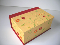 Square Box with Embroidered Flowers & Vines Yellow Paper