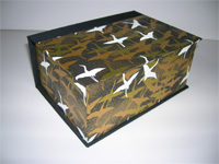 Square Box with White & Gold Cranes Flying in Black Skies Paper
