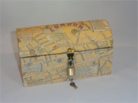 Travel Trunk with Medieval London Map Paper