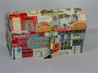 Travel Trunk with Paris Monuments Ads Paper
