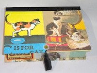 Rectangular Box with Vintage Cat Ads Paper